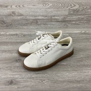 NWOT Zara White Leather Low Top Sneakers